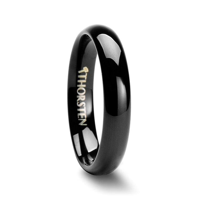 Ladies Black Tungsten Carbide Wedding Band Classic Dome Polished Design 4mm - 6mm