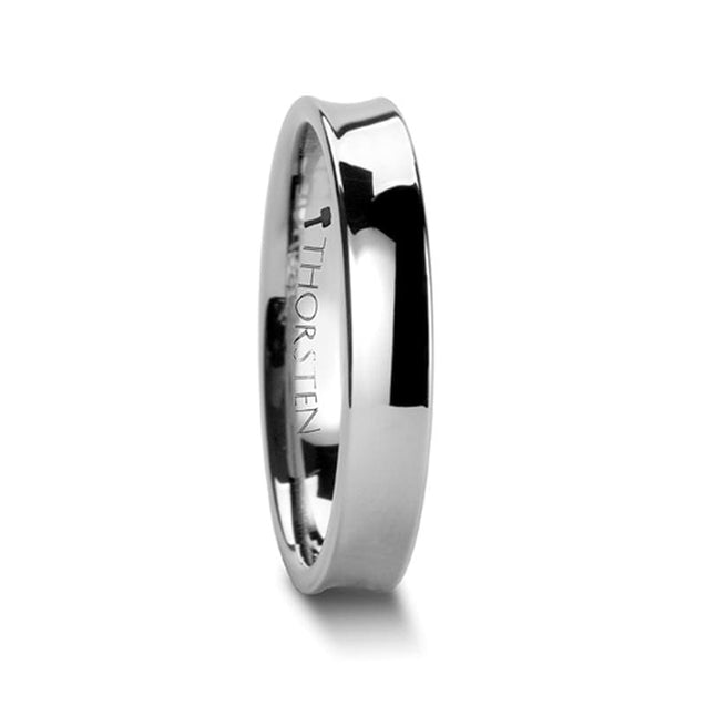 Ladies Concave Tungsten Wedding Band with Polished Finish 4 mm - 6 mm