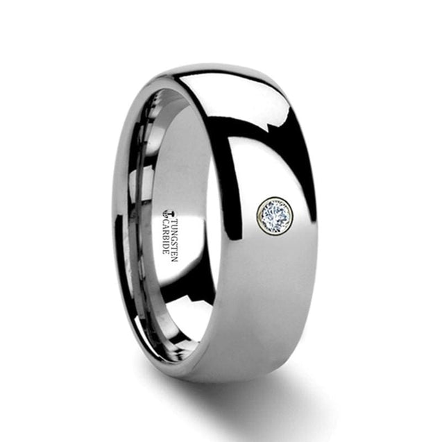 Ladies Domed Diamond Tungsten Carbide Ring with Polished Finish 4mm & 6mm