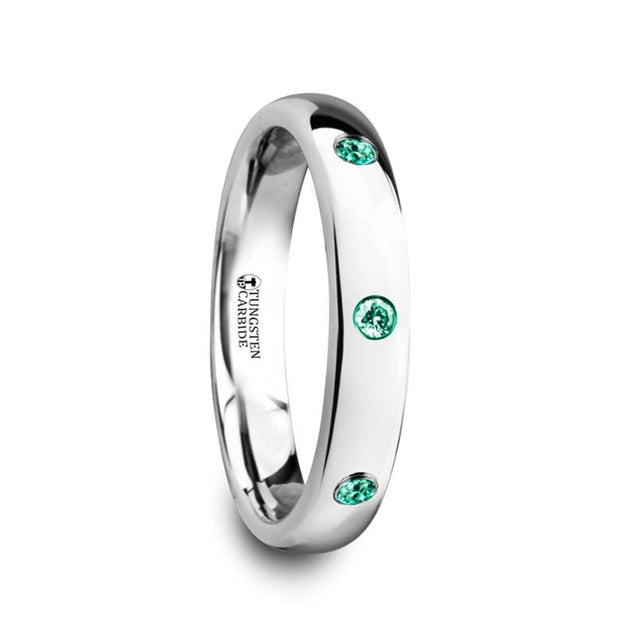Ladies Domed Tungsten Polished Wedding Band with 3 Green Emeralds Setting - 4 mm