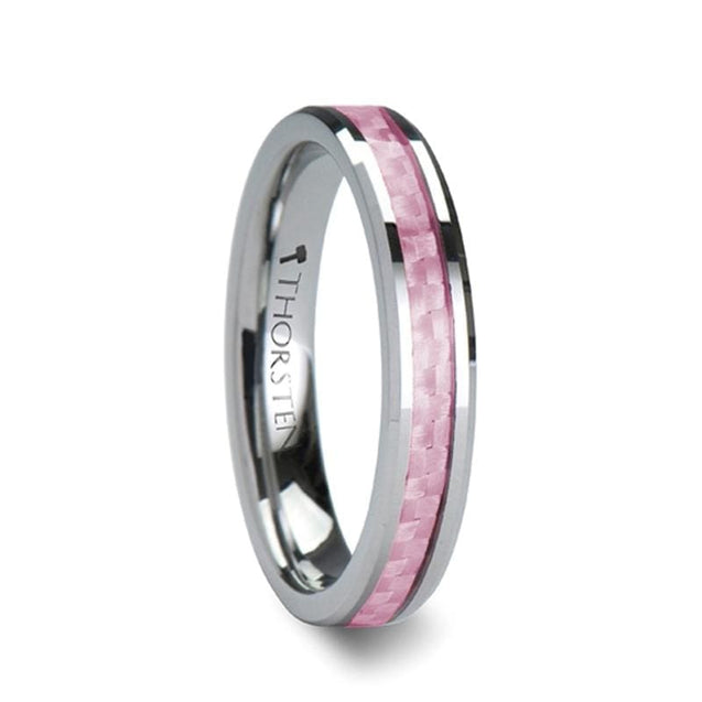 Ladies Pink Carbon Fiber Inlaid Beveled Tungsten Wedding Band - 4 mm & 6mm