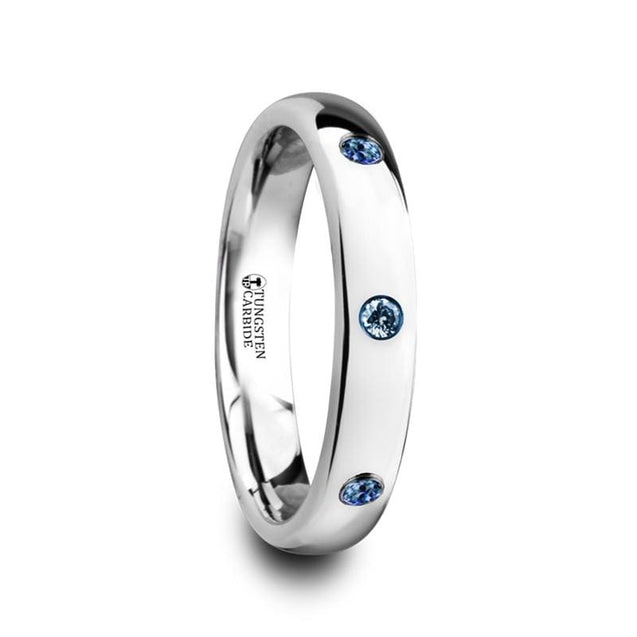 Ladies Rounded & Polished Tungsten Carbide Ring with 3 Blue Sapphires - 4mm