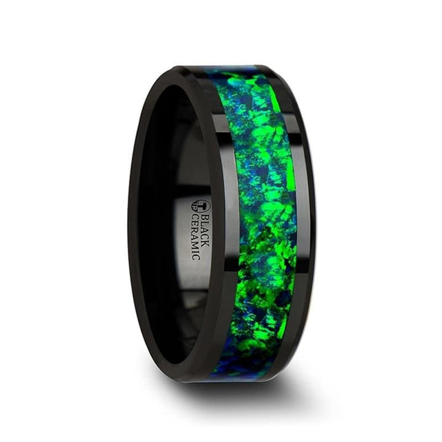 Lancel Black Ceramic Ring With Emerald Green & Sapphire Blue Color Opal Inlay - Ceramic Rings