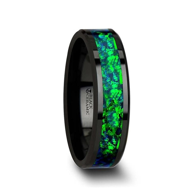 LANCEL Black Ceramic Ring with Emerald Green & Sapphire Blue Color Opal Inlay