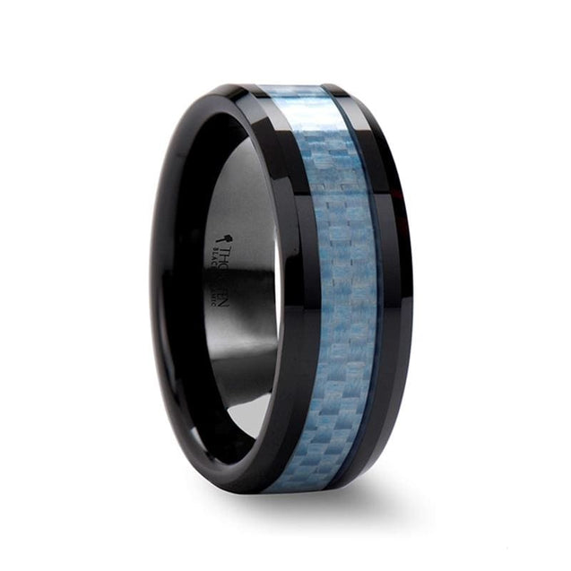 LANCELOT Black Beveled Men's Ceramic Ring with Blue Carbon Fiber Inlaid - 8mm