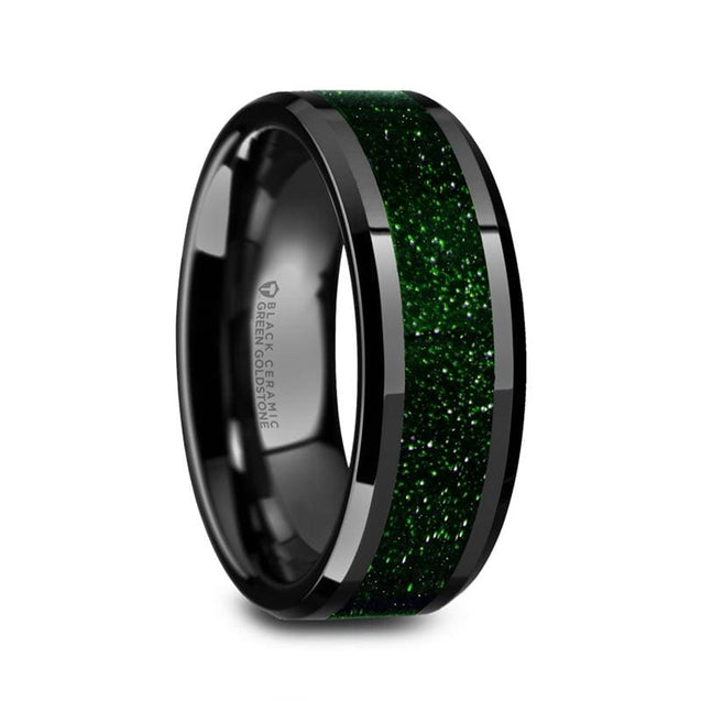 LUCAS Beveled Black Ceramic Men's Wedding Band with Green Goldstone Inlay - 8 mm