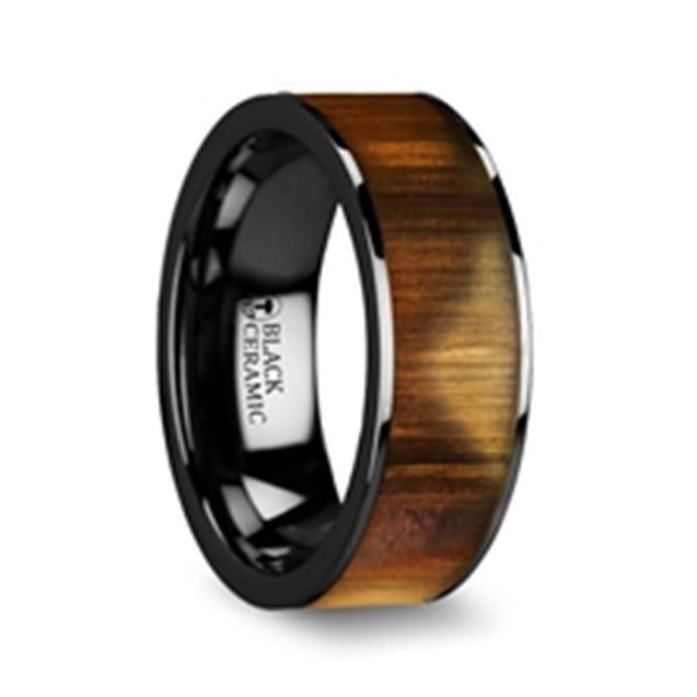 LUKE Flat Olive Wood Inlaid Black Ceramic Men's Wedding Band Polished Edges - 8mm