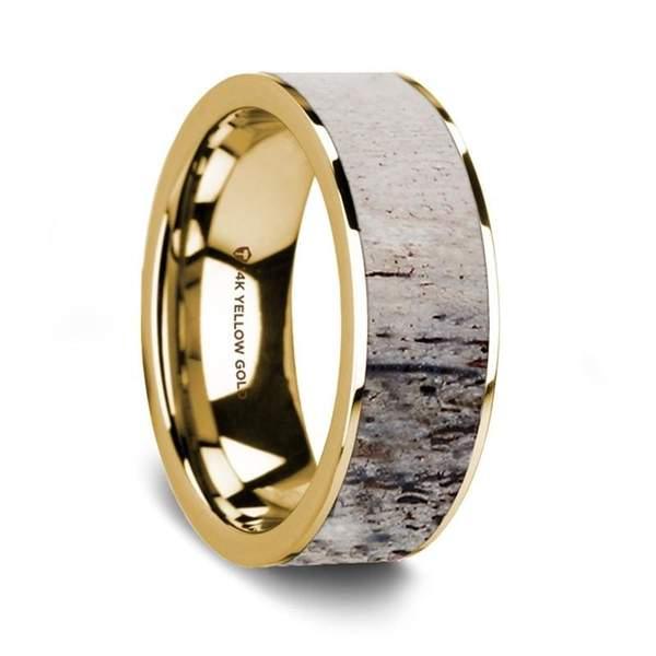 Men's 14K Yellow Gold Wedding Ring with Flat Polished Deer Antler Inlay - 8 mm