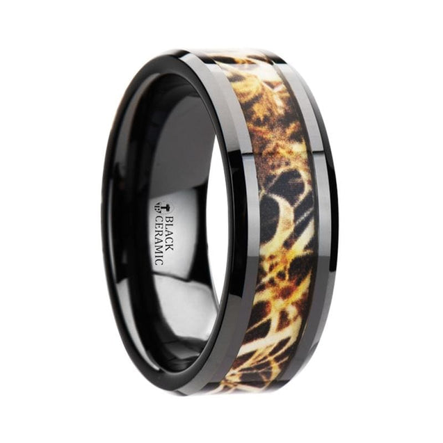 MACRAE Leaves Grassland Camo Inlay Black Ceramic Men's Wedding Band - 8mm