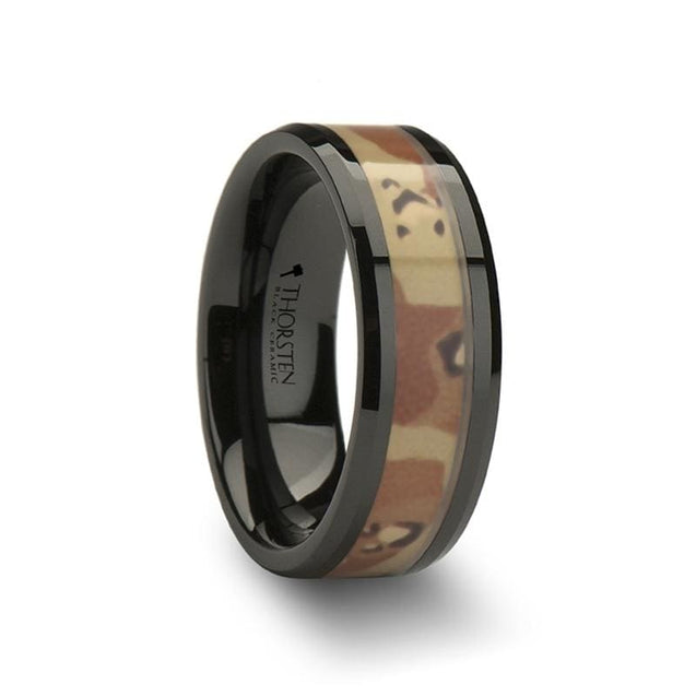 MAGNUS Military Style Dessert Camo Inlay Beveled Men's Black Ceramic Ring - 8mm