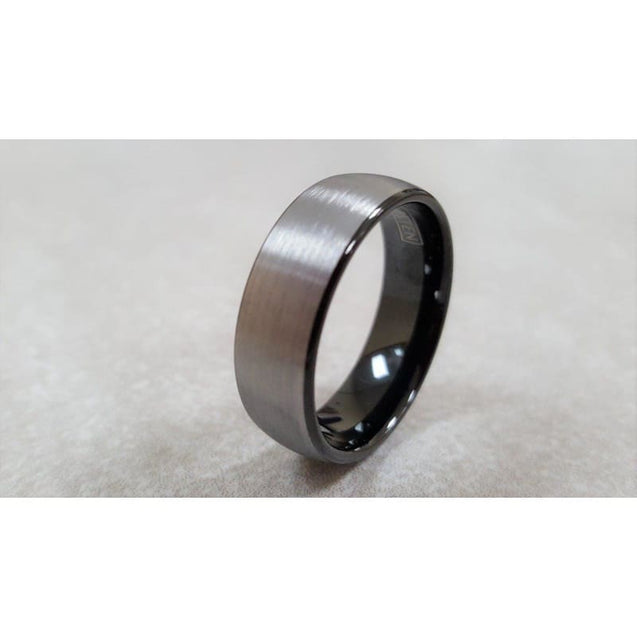 Mahail Tungsten Ring Set With Black Inside and Curved Brush Finish - 6mm & 8mm