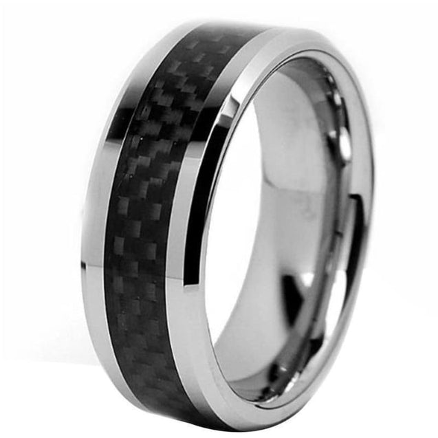 MATEO Tungsten Wedding Band With Stunning Checkered Black Carbon Fiber Inlay - 8mm