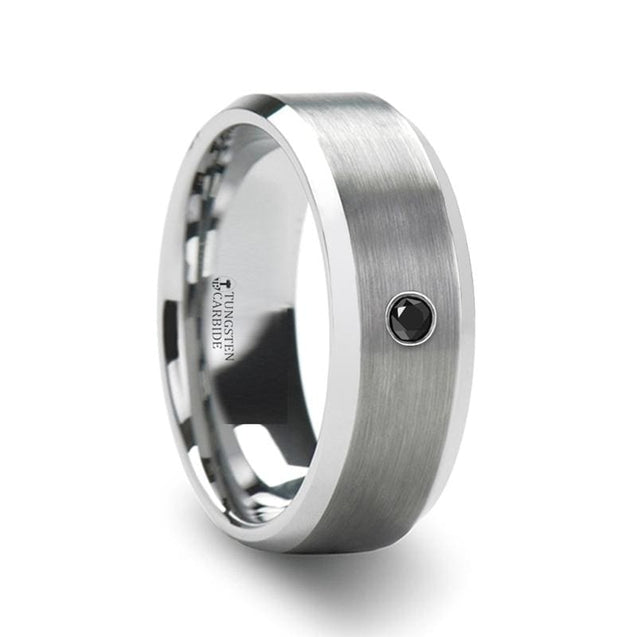 Men's Beveled Tungsten Carbide Ring W/ Black Diamond Center Polished Edges 6mm & 8mm