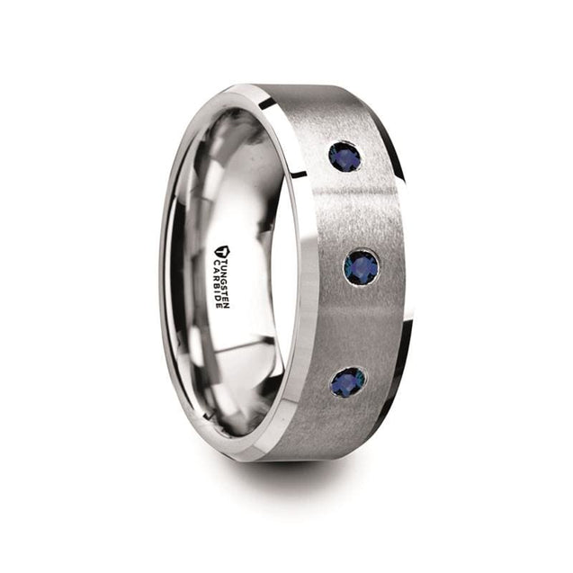 Men's Beveled Tungsten Carbide Ring With 3 Blue Sapphires Satin Finished Center - 8mm