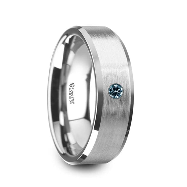 Men's Beveled Tungsten Wedding Band With Blue Diamond Brushed Center - 8mm