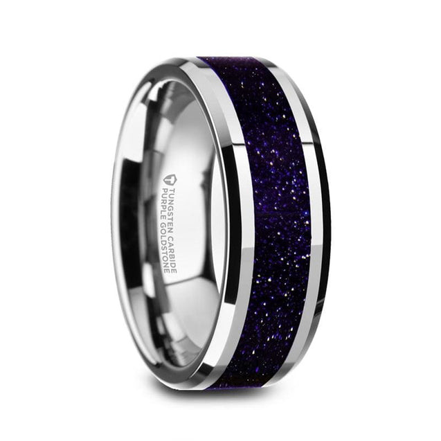 Mens Beveled Tungsten Wedding Ring With Polished Purple Goldstone Inlay - 8Mm - Tungsten Carbide