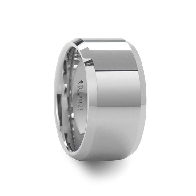 Men's Beveled White Tungsten Ring Extra Wide with Polished Finish - 12mm