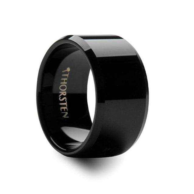 Men's Black Extra Wide Tungsten Carbide Wedding Band With Beveled Edges 12mm