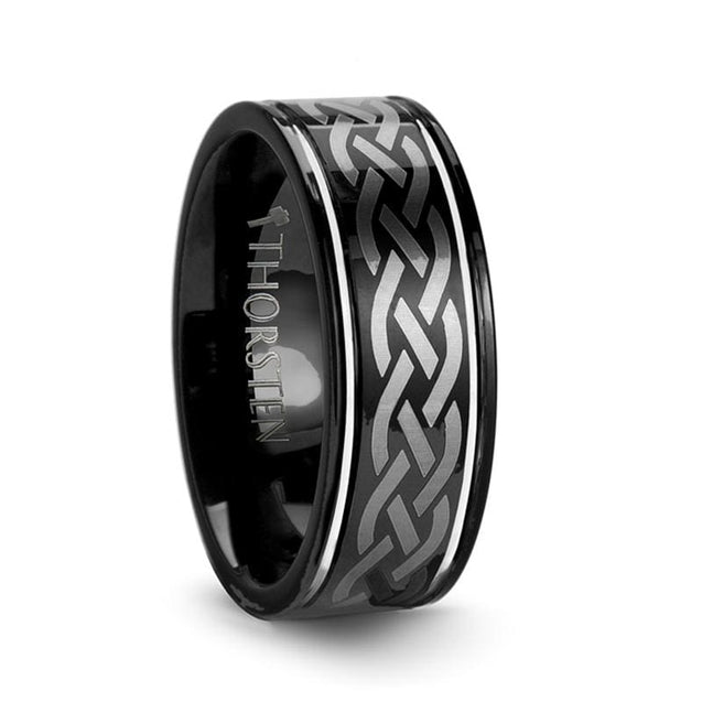 Men's Black Pipe Cut Tungsten Wedding Band with Celtic Engraved Design - 8 mm