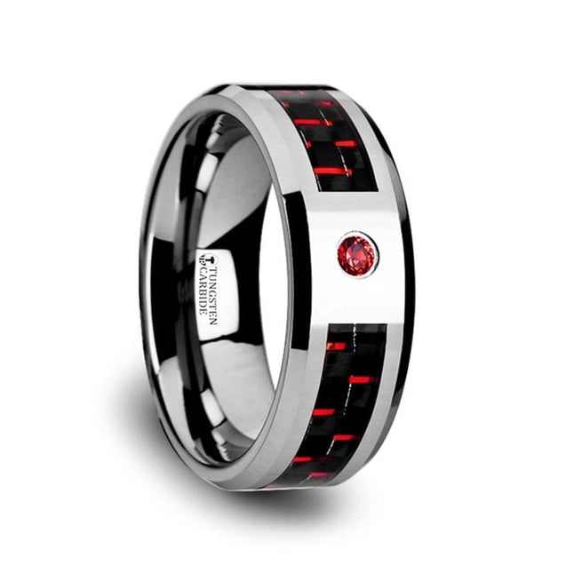 Men's Black & Red Carbon Fiber Inlaid Tungsten Ring with Red Ruby Setting - 8mm