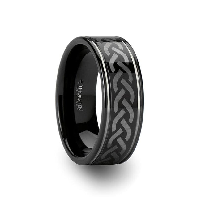 Men's Black Tungsten Carbide Wedding  Ring with Celtic Pattern Design Grooved - 8mm