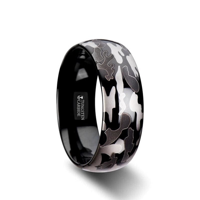 Men's Domed Black Tungsten Carbide Ring with Black & Gray Camo Pattern Design - 8mm