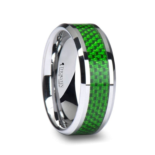 Men's Emerald Green Carbon Fiber Inlaid Beveled Tungsten Carbide Ring - 8mm
