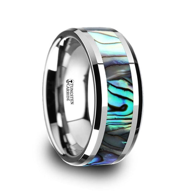 Men's  Extra Wide Beveled Tungsten Wedding Band W/ Mother of Pearl Inlay - 10mm