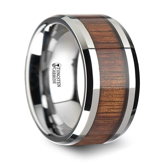Mens Extra Wide Koa Wood Inlaid Tungsten Carbide Wedding Band With Bevels 12Mm - Tungsten
