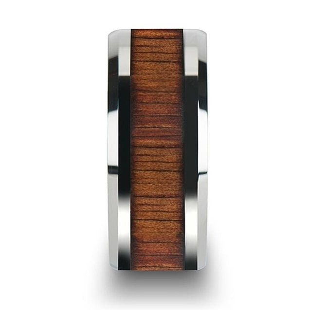 Men's Extra Wide Koa Wood Inlaid Tungsten Carbide Wedding Band with Bevels 12mm