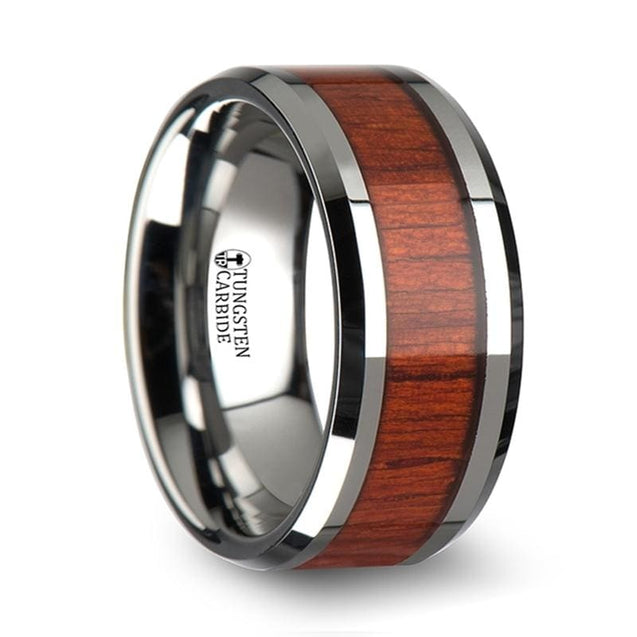 Men's Extra Wide Real Padauk Inlaid Tungsten Wedding Band Beveled Edges - 10mm