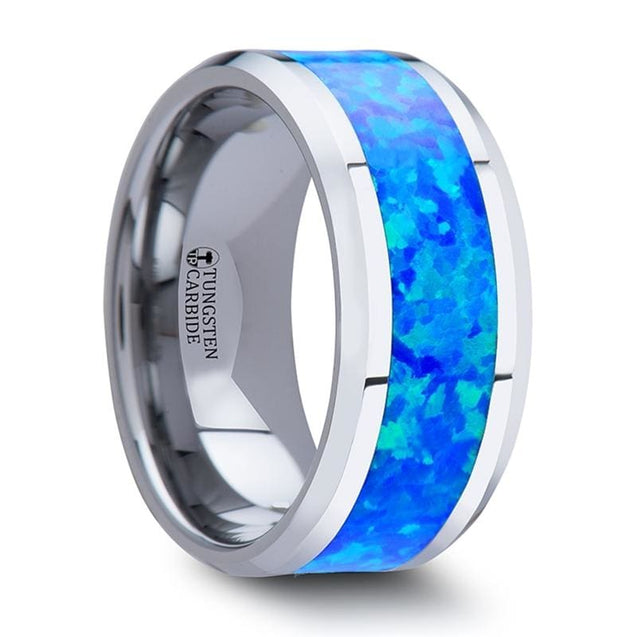 Men's Extra Wide Tungsten Carbide Wedding Band with Blue Green Opal Inlay - 10mm
