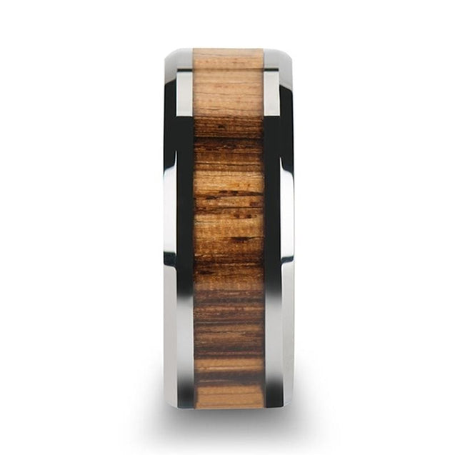 Men's Extra Wide Tungsten Carbide Wedding Ring with Real Zebra Wood Inlay - 10mm