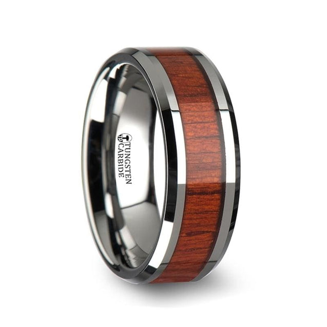 Men's Extra Wide Wedding Band Tungsten Carbide with Rosewood Inlay - 10mm