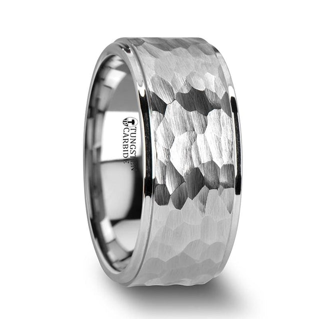 Men's Extra Wide White Tungsten Ring Raised Hammered Finish Center - 10mm