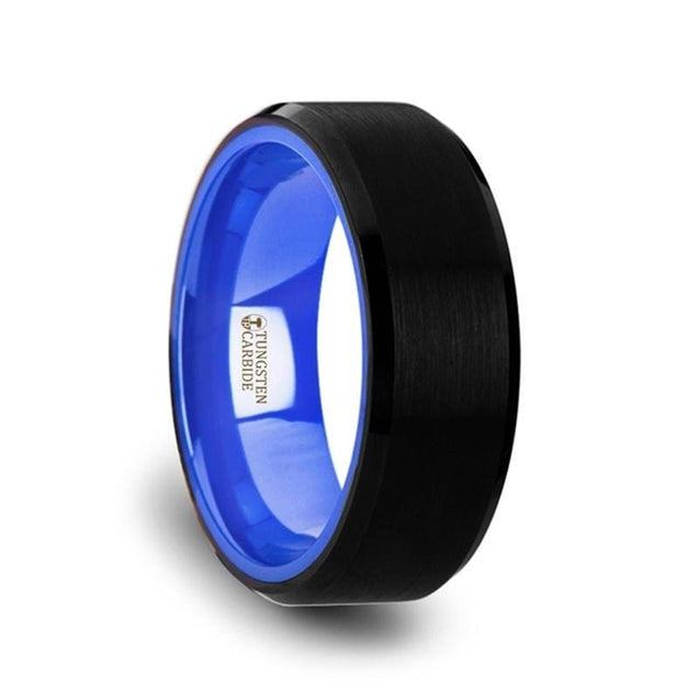 Men's Flat Black Beveled Tungsten Wedding Band with Vibrant Blue Inside - 8mm