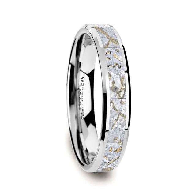 Men's Tungsten Beveled Wedding Ring with White Dinosaur Bone Inlay - 4mm & 8mm