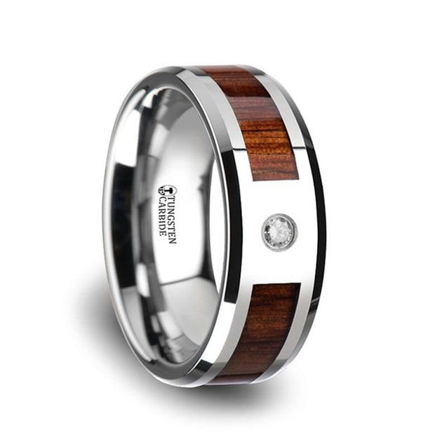 Mens Tungsten Carbide Diamond Ring With Koa Wood Inlay & Polished Edges - 8Mm - Tungsten