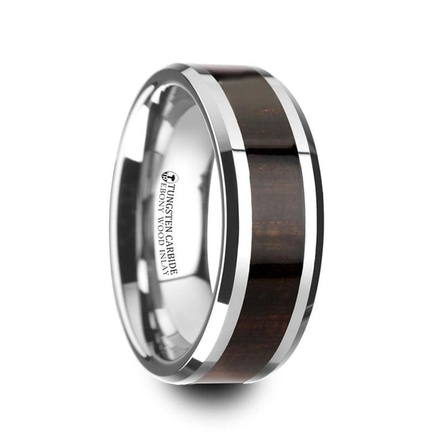 Men's Tungsten Carbide Wedding Ring Ebony Wood Inlaid Beveled Edges - 8mm