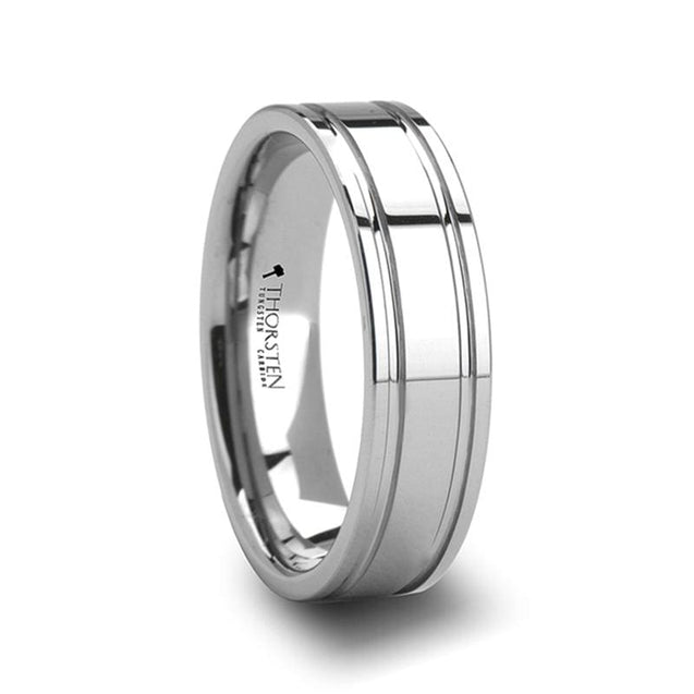 Men's Tungsten Carbide Wedding Ring with Dual Offset Grooves - 6mm & 8mm