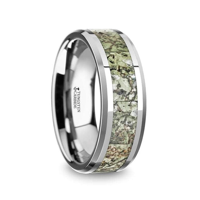 Men's Tungsten Wedding Band W/ Green Dinosaur Bone Inlay & Beveled Edges - 8mm