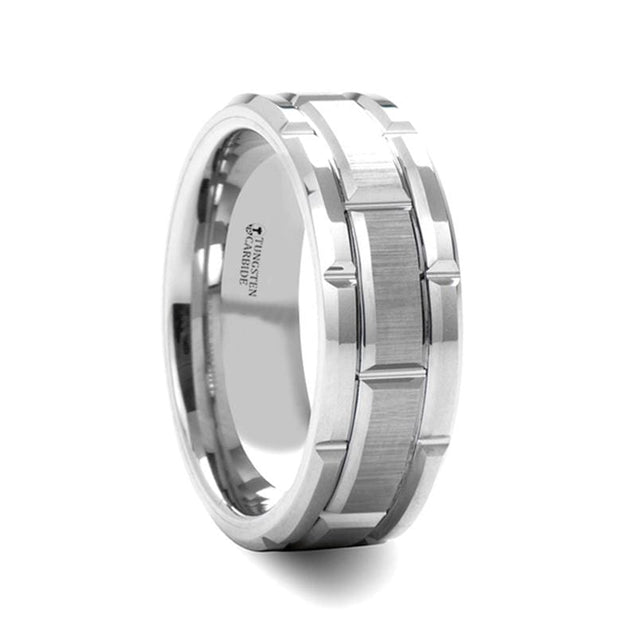 Men's Tungsten Wedding Band with Brush Finished Center & Alternating Grooves - 8mm