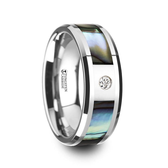 Men's Tungsten Wedding Band with Mother of Pearl Inlay & White Diamond Center 8mm