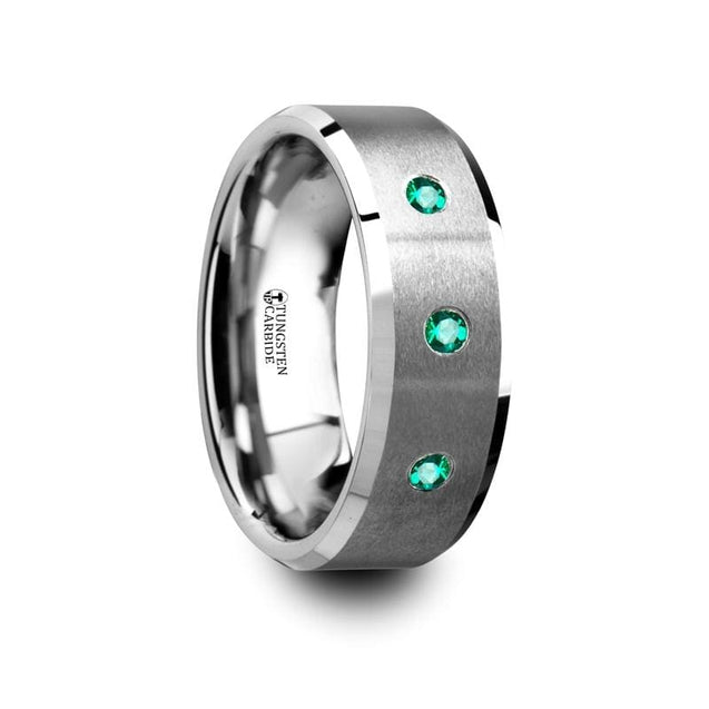 Men's Tungsten Wedding Ring With 3 Emeralds Center W/ Beveled Polished Edges - 8mm