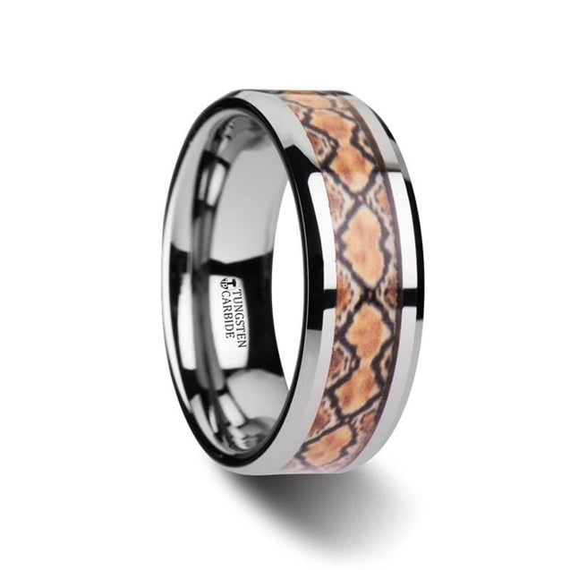 Men's Tungsten Wedding Ring With Boa Snake Skin Design Inlay & Beveled Edges - 8mm