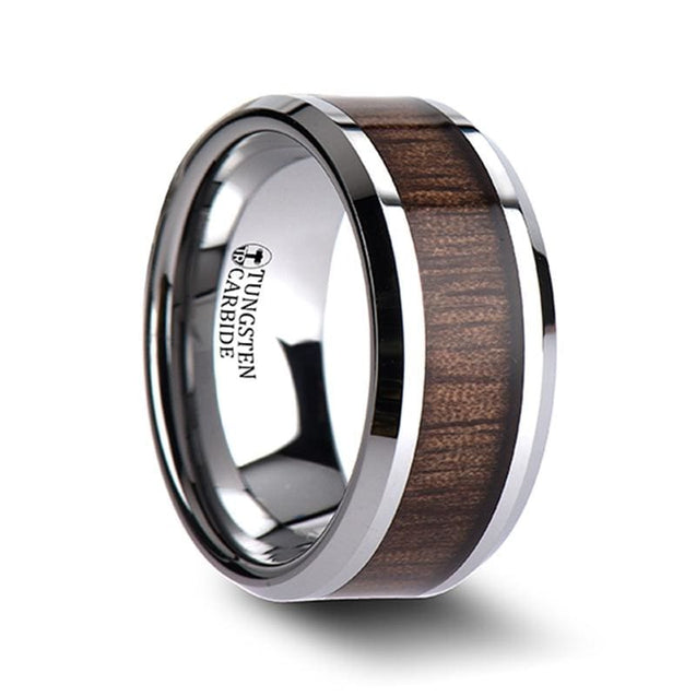 Men's Wedding Band Tungsten Carbide W/ Bevels and Black Walnut Wood Inlay - 10mm