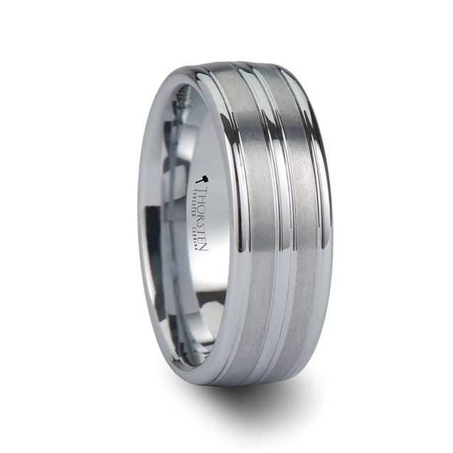 Men's White Tungsten Carbide Wedding Band with Triple Grooves - 8mm