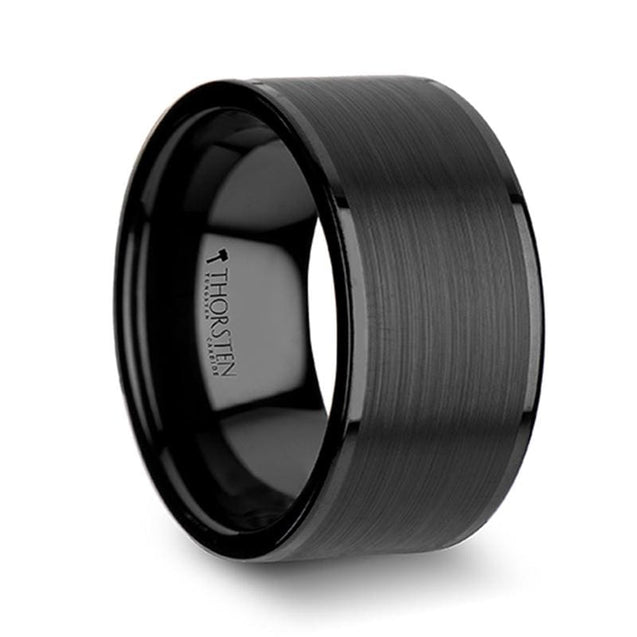 Men's Wide Flat Black Tungsten Carbide Ring with Brushed Center & Polished Edges - 12mm