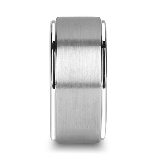 Men's Wide Tungsten Carbide Wedding Band Stepped Edges & Brushed Finish - 12mm