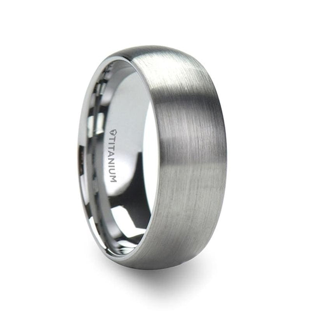 MILES Brushed Finish Domed Titanium Wedding Band - 6mm & 8mm